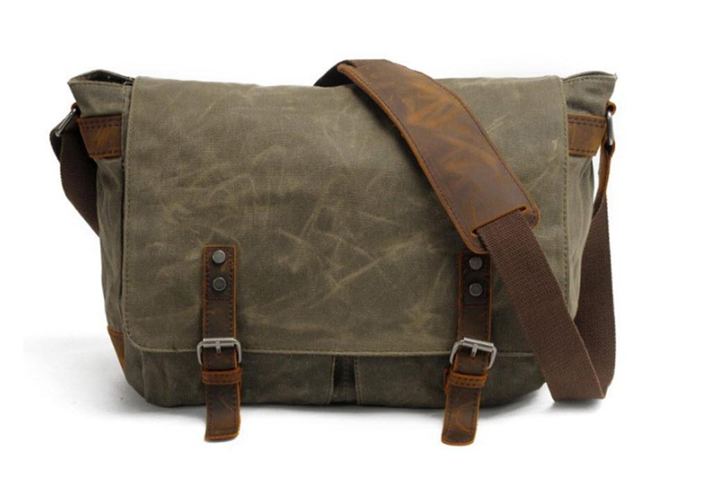 ... Leather Crossbody Messenger Bag - Army Green. Khaki Green. Loading zoom d2e9006af7bba