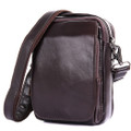 """Ensenada"" Compact Leather Crossbody Satchel - Oxblood Brown"