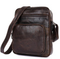 """Salinas"" Men's Soft Vintage Leather Compact Messenger Bag - Brown"