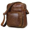 """Salinas 2"" Men's Soft Vintage Leather Compact Messenger Bag -  Tan"