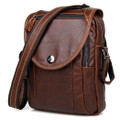 """Colombo"" Men's Fine Grain Leather Messenger Bag & Tablet Case - Brown"