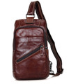 """Cebu"" Soft Leather Single Shoulder Sling Chest Bag - Oxblood Brown"