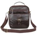 """""""Genova"""" Men's Vintage Leather Shoulder Day Satchel - Brown"""