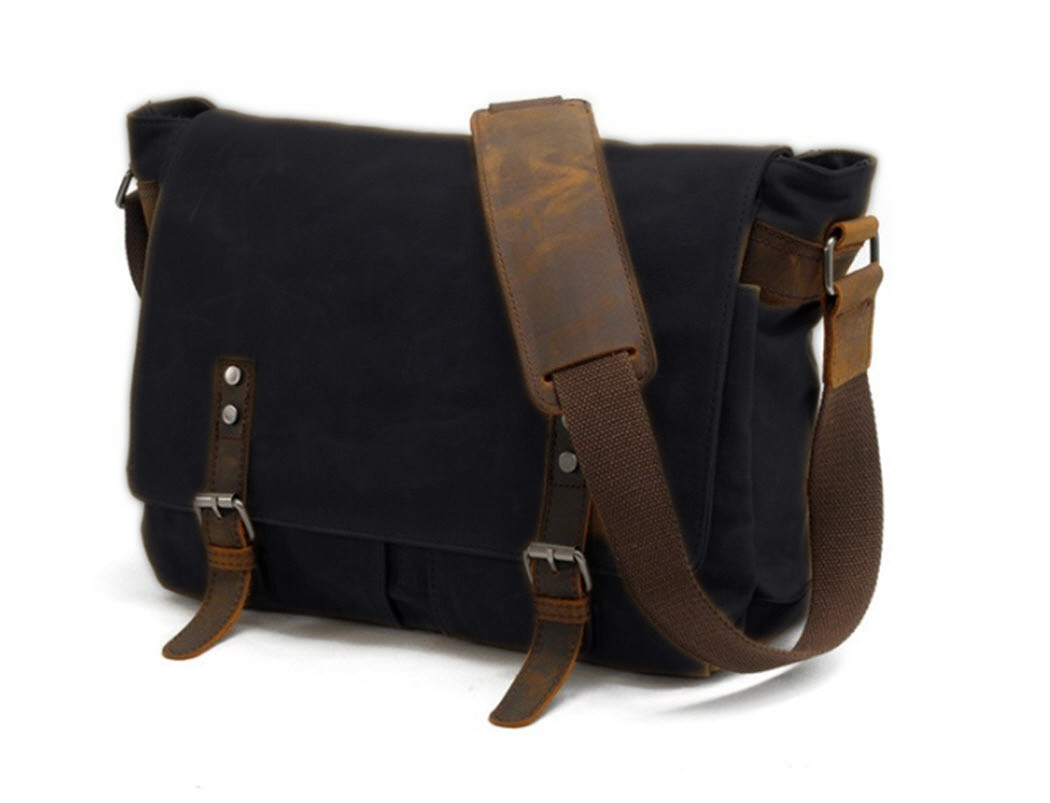 ... Men s Rugged Distressed Canvas   Leather Crossbody Messenger Bag - Black.  Image 1. Loading zoom 61536b6feda34