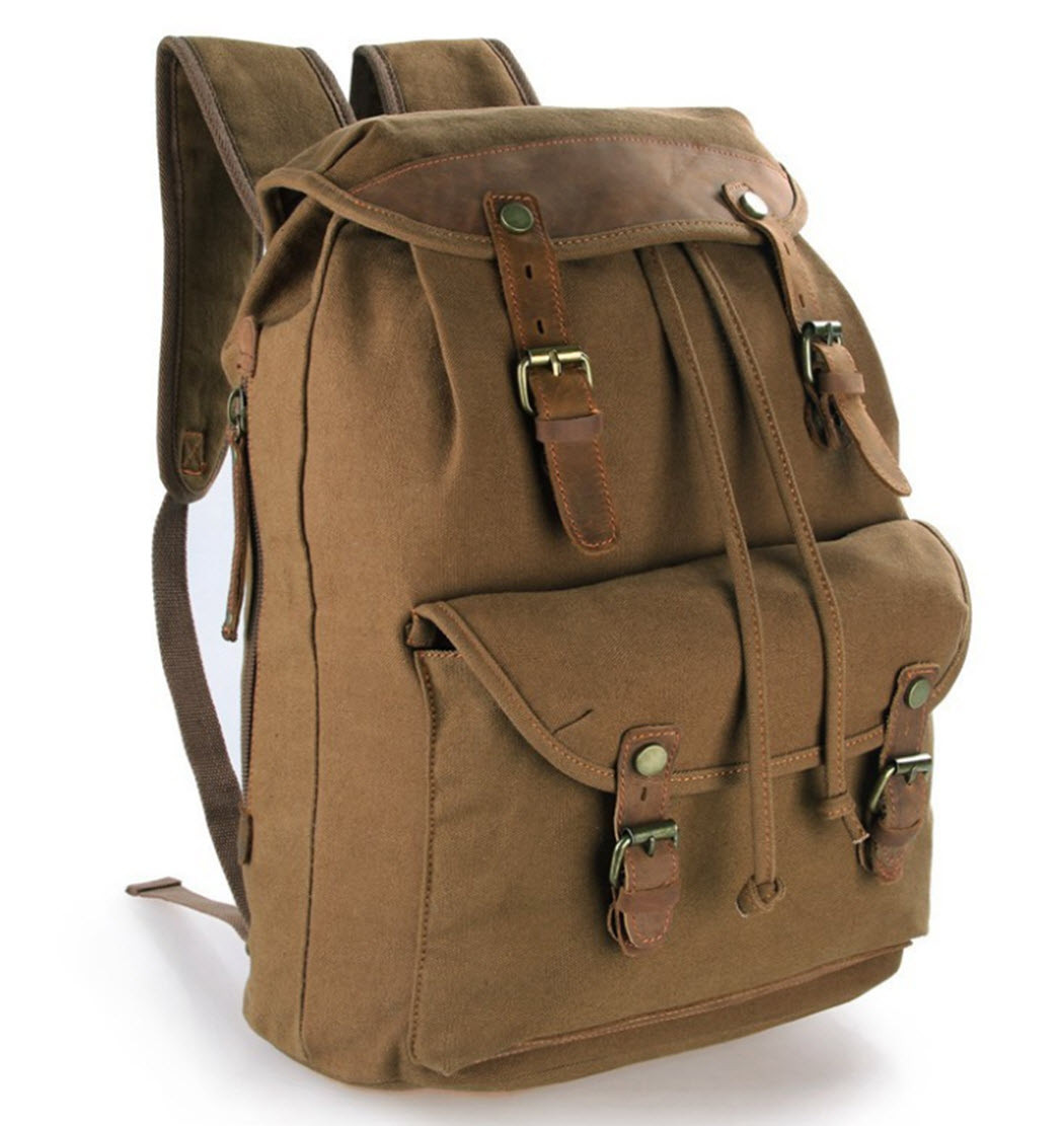 """Brown /""""Central Park/"""" Vintage Canvas /& Leather Rugged Day Backpack"""