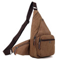 """Westport"" Men's Canvas Crossbody Chest Sling - Khaki Brown"