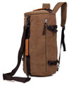 """Kingston"" Men's Convertable Duffel Travel Bag & Backpack - Khaki Brown"