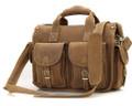 """Corpus Christi 2"" Men's Full Grain Leather Messenger Bag & Briefcase - Tan"