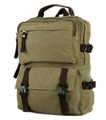 """Duisburg"" Rugged Canvas School and Hiking Backpack - Khaki Tan"