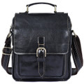 """Astana"" Men's Vintage Leather Compact Messenger & Tablet Bag - Black"