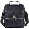 """""""Astana"""" Men's Vintage Leather Compact Messenger & Tablet Bag - Black"""