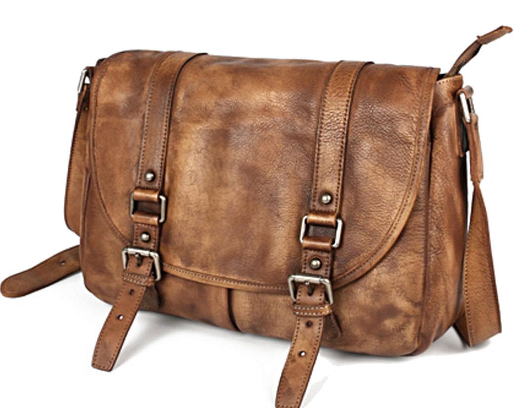 ... Grain Vintage Leather Messenger Bag - Cowboy Brown. Image 1. Loading  zoom b82fc33d5da51