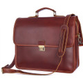 """Essen"" Men's Soft Leather Shoulder Brief Case - Red Brown"