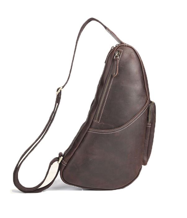 7b9f0010d848 ... Men s Full Grain Leather Shoulder Sling Chest Bag - Brown. Image 1.  Loading zoom