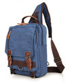 """Hana Bay"" Men's Canvas Retro-style Single-shoulder Crossbody Backpack - Denim Blue"