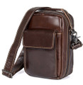 """Ufa"" Compact Leather Shoulder Crossbody Bag  - Deep Brown"