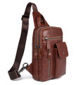 """Fukuoka"" Soft Leather Single Shoulder Sling Chest Bag - Rust Brown"