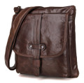 """Naples"" Men's Vintage Leather Compact Messenger & Tablet Bag - Dark Brown"