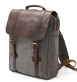 """Pacific Beach"" Men's Trendy Canvas Backpack with Leather Flap & Straps - Grey"
