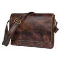 """San Miguel"" Men's Distressed Leather Messenger Bag - Natural Brown"