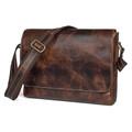 """San Miguel"" Men's Distressed Leather Messenger Bag - Natural Brown"