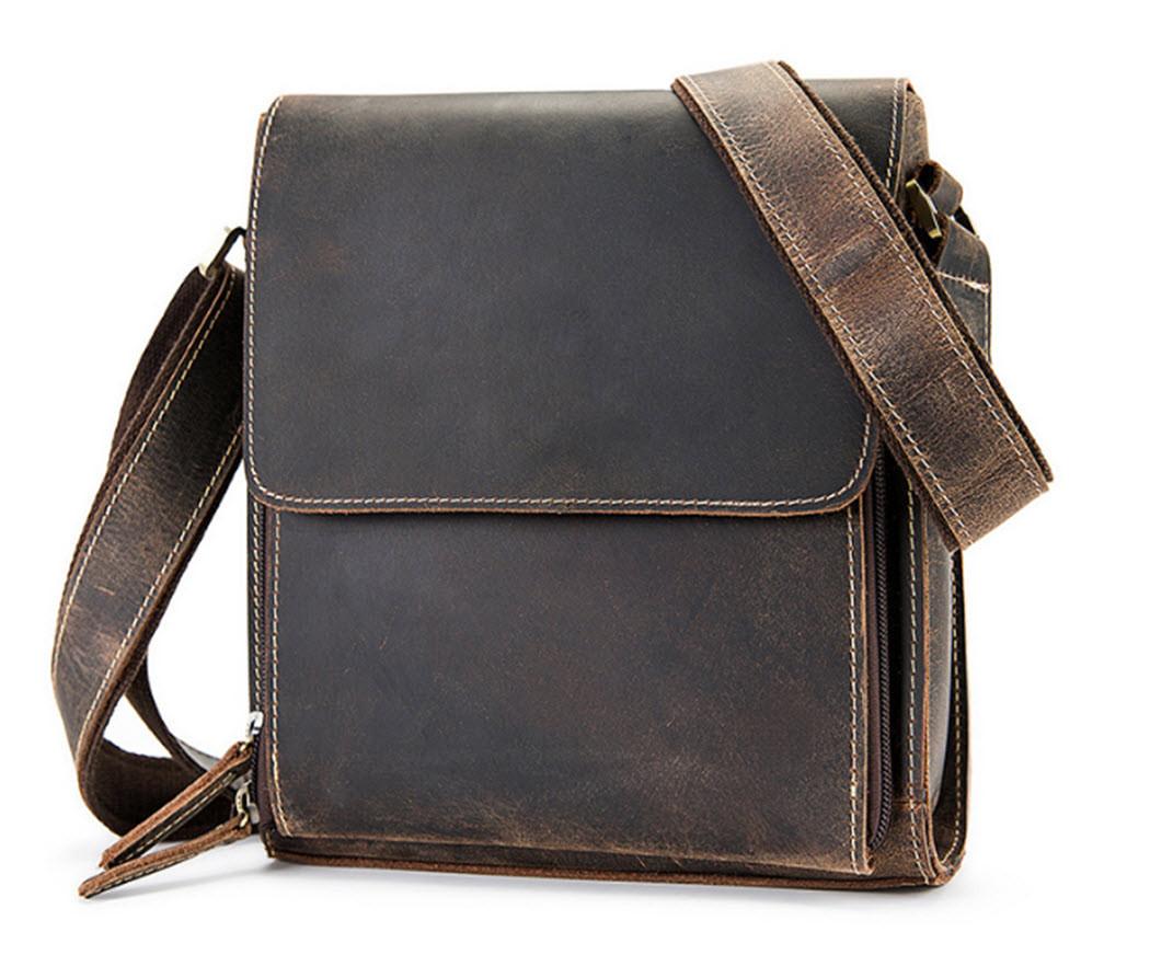 8140ec97d26f ... Leather Compact Box Messenger Bag - Dark Brown. Image 1. Loading zoom