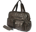 """Martha's Vinyard 3"" Men's Large Soft Leather Overnight Tote Bag - Dark Brown"