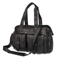 """Norfolk"" Men's Large Soft Leather Overnight Travel Tote Bag - Black"