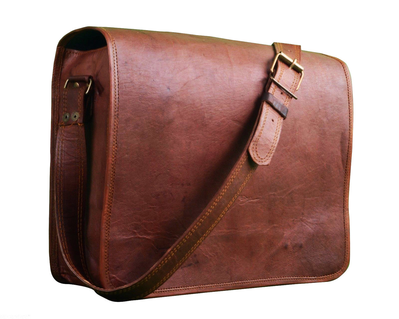 ... Men s Vintage Goat Leather Compact Messenger   Tablet Bag - Brown.  Image 1. Loading zoom 1b6efd798b207