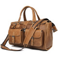 """Ri Grande 2"" Men's Full Grain Distressed Leather Laptop Briefcase  & Travel Bag - Tan"