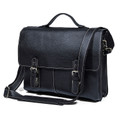 """Kharkov 2"" Men's Top Grain Leather Laptop Portfolio Briefcase - Black"
