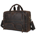 """Azores"" Top Grain Distressed Leather Overnight Carry-on Travel Bag - Brown"