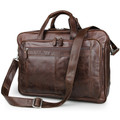 """Matera"" Men's Large Fine Waxy Leather Business Travel Bag - Brown"