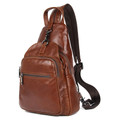 """Del Mar"" Soft Leather Shoulder Sling Chest Bag & Backpack - Rust Brown"