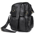 """Liverpool 2"" Men's Vintage Leather Convertible Backpack & Shoulder Bag - Black"