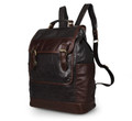 """Rincon"" Men's Smooth Vintage Leather Backpack - Brown & Black"