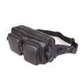 """Monterey"" Men's Large Soft Leather Waist Fanny Pack & Chest Sling - Espresso Dk. Brown"