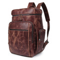 """Borego"" Large Distressed Top Grain Leather Travel Backpack & Daypack - Brown"