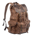 """Monteverde"" Rugged Waxed Canvas & Leather Backpack - Tan or Grey"