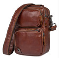 """Milagro 3"" Men's Soft Leather Compact Shoulder Satchel - Vintage Rust"