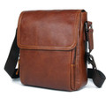 """Basho"" Compact Leather Shoulder Crossbody Satchel - Rust Brown or Black"