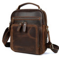 """Medellin"" Men's Top Grain Leather Compact Messenger Bag - Deep Brown"