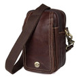 """Mobella"" Men's Leather Phone & Keys Satchel - Brown Oxblood"