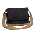 Virginland Vintage Cotton Canvas Messenger Bag - Black & Tan