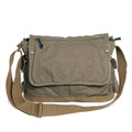 Virginland Vintage Cotton Canvas Messenger Bag - OD Green & Tan