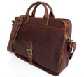 """Minsk"" Men's Full Grain Leather Shoulder Briefcase Attache - Dark Brown"