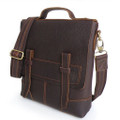"""Kyoto"" Men's Trendy Top Grain Leather Vertical Messenger Bag"