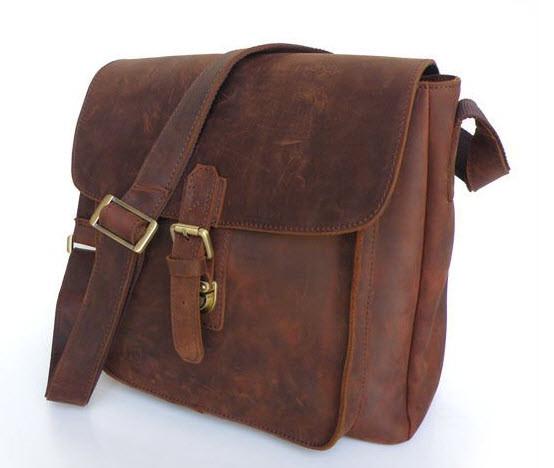 ... Men s Full Grain Distressed Leather Crossbody Bag. Image 1. Loading zoom e7eced55cd47f