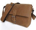 """Tashkent"" Men's Full Grain Distressed Leather Messenger Bag"