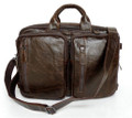 """Rio"" Men's Soft Vintage Leather Convertible Briefcase & Backpack - Dark Brown"